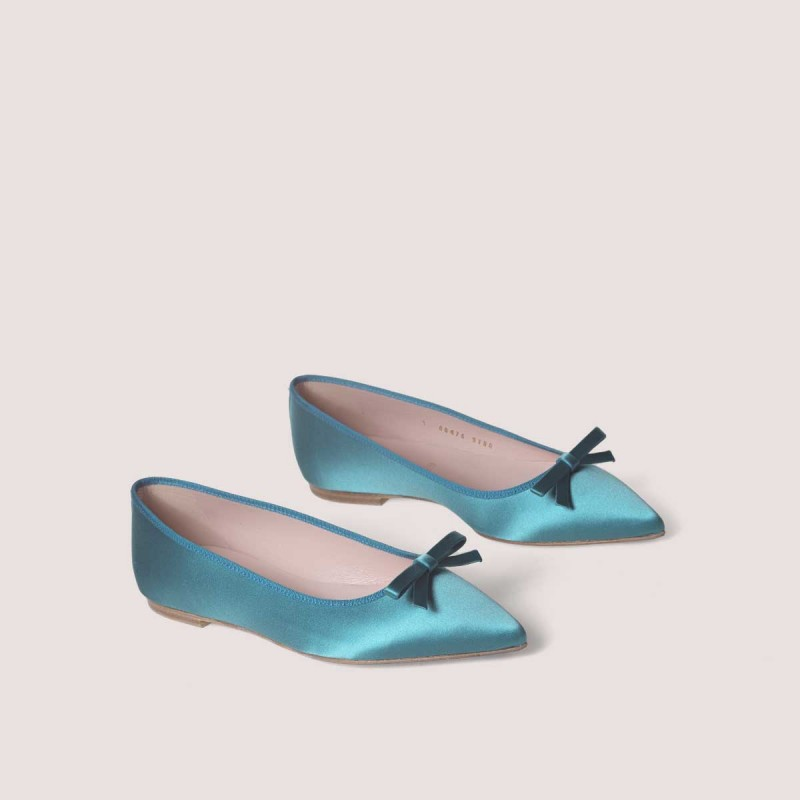 Satin blue ballerina shoes